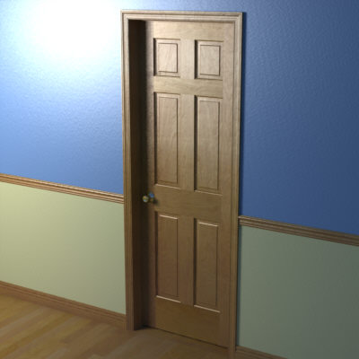 Door with nob and trim